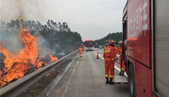 南宁消防驰援玉林抗击台风途中遇山火 火灾已被扑灭